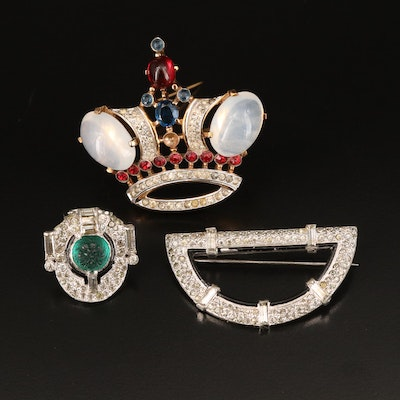 Vintage 1944 Alfred Philippe for Crown Trifari Coronation Crown Brooch