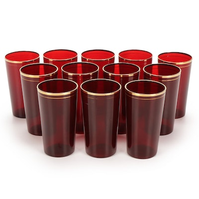 Gilt Accented Ruby Glass Juice Tumblers, Mid-20th Century