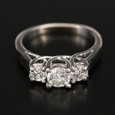 14K 1.01 CTW Diamond Three Stone Trellis Ring