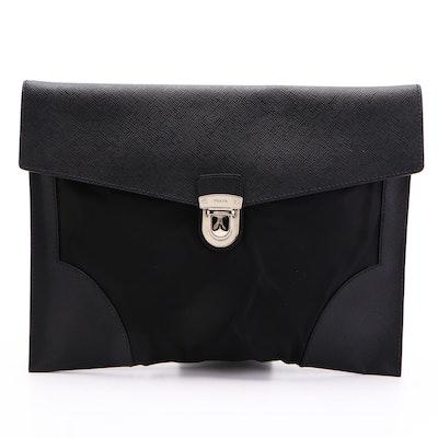 Prada Portfolio with Push Lock in Black Tessuto Nylon and Saffiano Leather