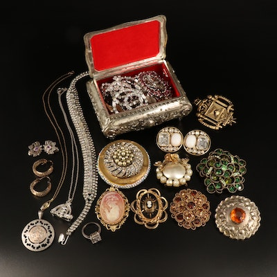 Vintage and Antique Rhinestone Jewelry Collection with 900 Silver Brooch