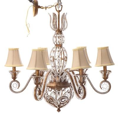 Italianate Style Beaded Gilt Metal Six-Light Chandelier