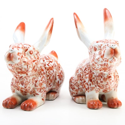 Speer Collectibles Chinese Porcelain Rabbit Figurines, Late 20th Century