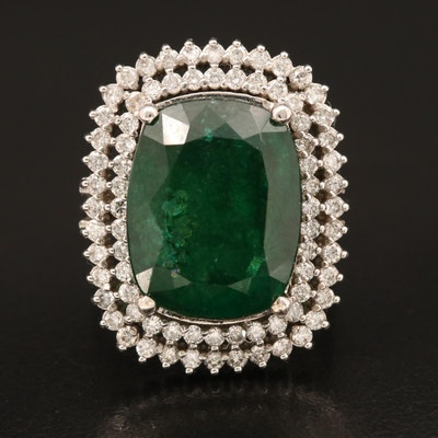 14K 10.20 CT Emerald and Diamond Ring