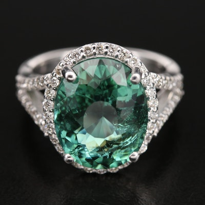 14K 8.14 CT Tourmaline and Diamond Ring