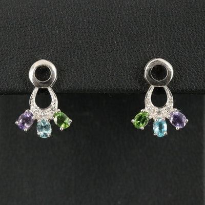 Sterling Silver Sapphire, Tourmaline, and Apatite Earrings