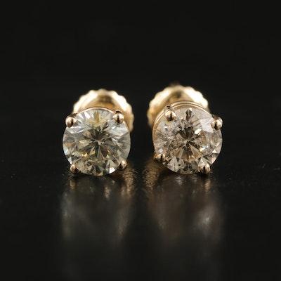 14K 1.40 CTW Diamond Solitaire Earrings