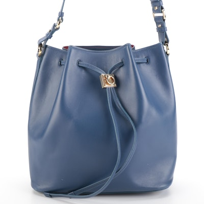 Salvatore Ferragamo Sansy Bucket Bag with Pouch in Blue Leather