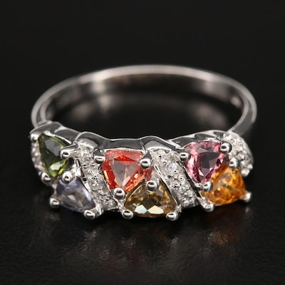 Sterling Band Including Sapphire, Zircon and Tourmaline