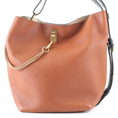 Givenchy GV Bucket Bag in Brown Grained and Black Smooth Leather with Chain Link