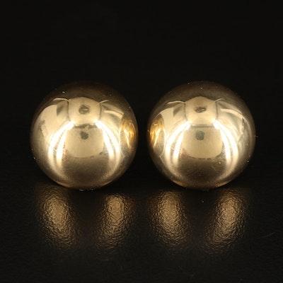 14K Domed Button Earrings