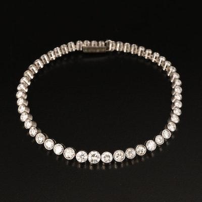 Platinum Graduated Bezel Set 6.45 CTW Diamond Line Bracelet