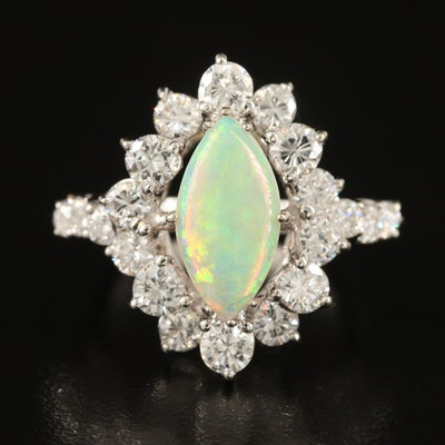 Vintage 14K Opal and 2.40 CTW Diamond Navette Ring