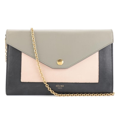 Céline Pocket Envelope Wallet on Chain in Tricolor Leather