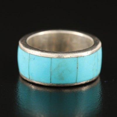 Southwestern Sterling Turquoise Inlay Band