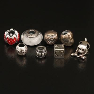 Sterling Charms Including Pandora, Glass, Enamel and Boxes