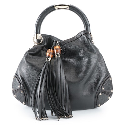Gucci Indy Hobo Bag in Black Grained Leather with Bamboo Tassels
