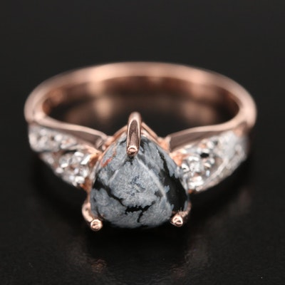 Sterling Snowflake Obsidian and Topaz Ring