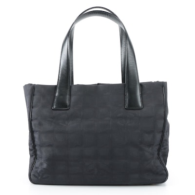 Chanel Travel Line Tote Bag Small in Black Nylon with Leather Handles