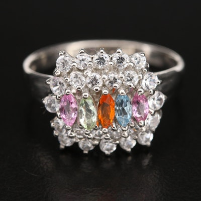 Sterling Ring Including Sapphire, Opal and Zircon
