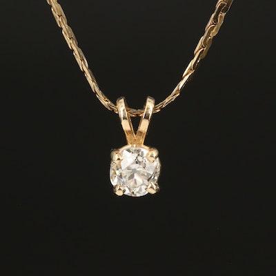 14K 0.60 Diamond Solitaire Pendant on Italian Fancy Link Chain