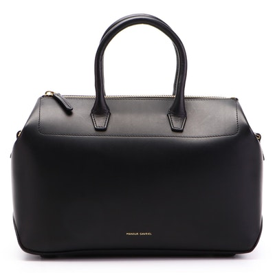 Mansur Gavriel Small Travel Bag in Black Leather with Detachable Strap
