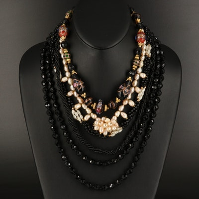 Beaded Necklace Collection Featuring Les Bernard Necklace with Wedding Cake Bead