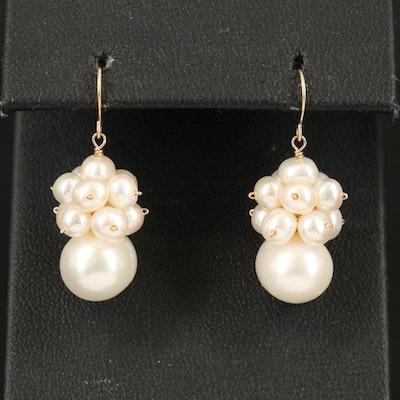 14K Peal Cluster Earrings