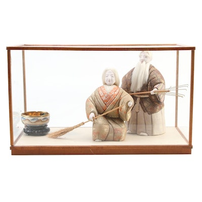 Japanese Takasago Dolls and Ceramic Bowl with Display Case