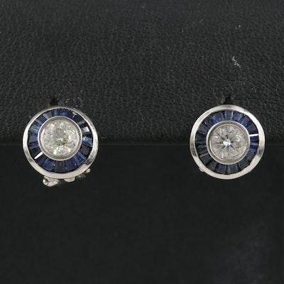14K Diamond and Sapphire Halo Earrings