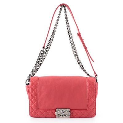 Chanel Reverso Boy Bag Old Medium in Red Quilted Calfskin Leather