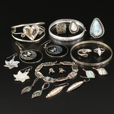 Vintage Sterling Earrings, Rings and Bracelets Featuring Larimar and Abalone