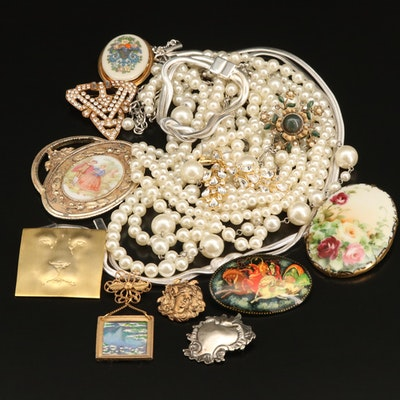 Russian Palekh Troika Brooch Featured with Other Costume Jewelry