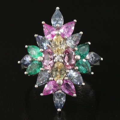 Sterling Silver Danburite, Emerald and Tanzanite Navette Cluster Ring