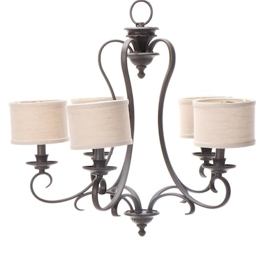 Traditional Style Five-Light Chandelier with Drum Shades