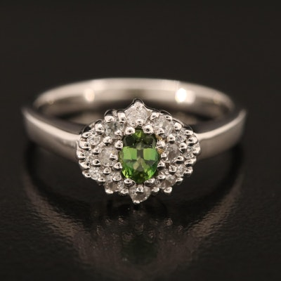 Sterling Tourmaline and Zircon Ring