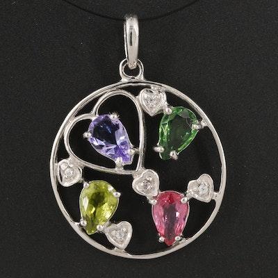 Sterling Silver Sapphire, Tanzanite and Peridot Pendant