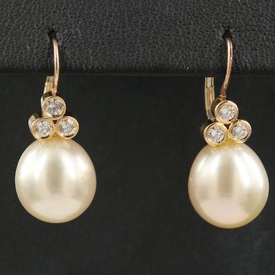 18K Pearl and 0.36 CTW Diamond Drop Earrings