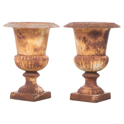 Pair of Neoclassical Style Cast Iron Garden Urns, Late 19th/Early 20th Century