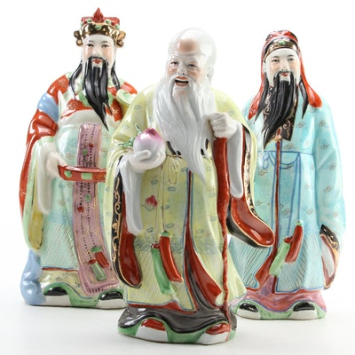 Chinese Hand-Painted Porcelain Immortals Figurines, Late 20th Century