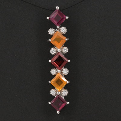 Sterling Silver Garnet, Fire Opal and Zircon Pendant