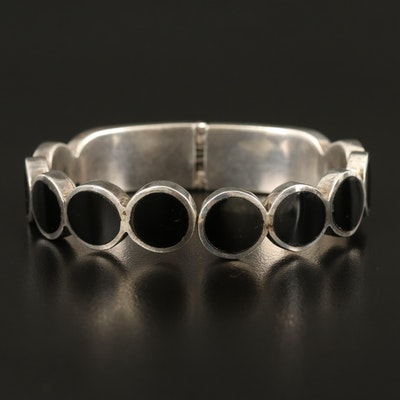 Sterling Hinged Bangle with Faux Black Onyx