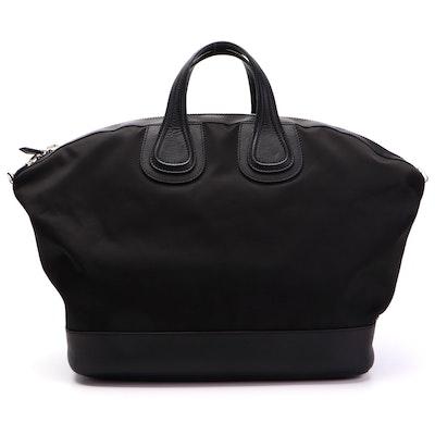 Givenchy Large Nightingale Satchel in Black Nylon and Leather