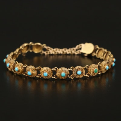 Etruscan Revival 18K Imitation Turquoise Bracelet