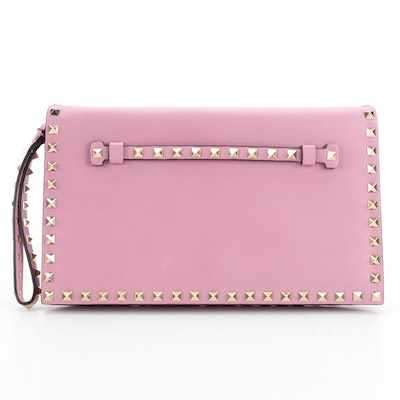 Valentino Rockstud Flap Front Wristlet Clutch in Pink Leather