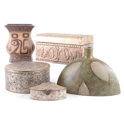 Contemporary Repoussé Metal Boxes, Ceramic Vases, and Napkin Rings