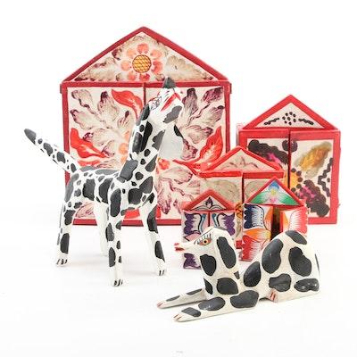 Handcrafted Dalmatian Dog Figurines with Peruvian Folk Art Relief Retablos