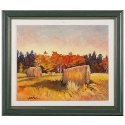 "Jim Leatham Oil Painting ""October Hay,"" 21st Century"