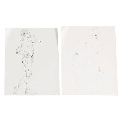 John Tuska Figural Nude Ink Drawings, Late 20th Century