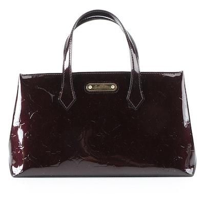 Louis Vuitton Wilshire PM Handbag in Amarante Monogram Vernis
